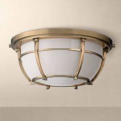 "Hudson Valley Conrad 11 3/4""W Aged Brass Ceiling Light"