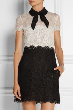 Valentino|Pussy-bow lace mini dress