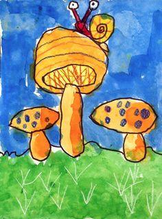 Art Projects for Kids: grade, eg Paul Klee, cool root veggie watercolor… Mushroom Paint, Mushroom Crafts, Mushroom Drawing, Painting For Kids, Art For Kids, Painting Art, Drawing Projects, Art Projects, First Grade Art