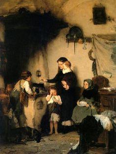 Nikolaos Gyzis ~ The Orphans ~ Greek Painter Charles Edward, Street Art, Greek Paintings, Art Paintings, Art Ancien, Social Art, Art Database, Chiaroscuro, Figure Painting