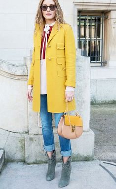 Chloé Drew bag | yellow coat | Olivia Palermo