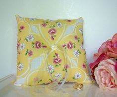 Ring Bearer Pillow Yellow Summer Wedding Vintage by TwiningVines, $35.00