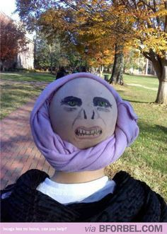 Turn a bald cap and a purple scarf into Professor Quirrell and Voldemort.