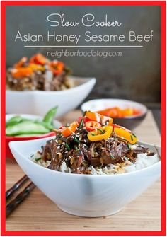 Let your crock pot do all the work with this easy Asian Honey Sesame Beef. Sweet, savory, and loaded with vegetables it's the perfect weeknight meal! Slow Cooker Beef, Slow Cooker Recipes, Crockpot Recipes, Vegan Asparagus Recipes, Healthy Dinner Recipes, Yummy Recipes, Chinese Beef Recipes, Sesame Beef, Sesame Sauce