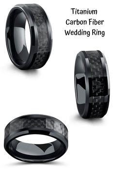 black wedding rings Mens titanium wedding ring with high polish black beveled edges and inlaid with a black woven carbon fiber inlay. This makes such a unique mens wedding ring. He really wants a unique black wedding ring and this is totally the one. Black Wedding Rings, Wedding Ring Styles, Titanium Wedding Rings, Black Rings, Wedding Men, Wedding Suits, Gold Wedding, Fashion Rings, Fashion Jewelry