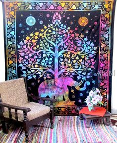 LARGE ELEPHANT TAPESTRY Hippie Bedding Throw Queen by Ababil