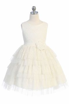Girls Ivory Floral Lace Dress with Tiered Lace & Tulle Skirt – Rachel's Promise Lace Mesh Dress, Floral Lace Dress, Lace Dress With Sleeves, Dress With Bow, Ivory Flower Girl Dresses, Ivory Dresses, Girls Dresses, Lace Dress Styles, Tiered Dress