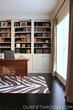 our fifth house: Home Office with New Built-In Bookcases
