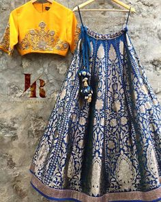 How stunning is this yellow blue lehenga set by Jayanti Reddy. #Frugal2Fab