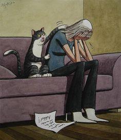 ¿Por qué llora?, ¿qué hace el gato?, ¿cuál crees que es la mala noticia?