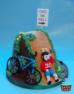 Over the Hill Cake Bicycle Cake, Bike Cakes, 90th Birthday Cakes, 15th Birthday, Birthday Ideas, Over The Hill Cakes, 30 Cake, Sport Cakes, Jelly Cake