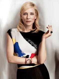 Cate Blanchett. Graphic top.