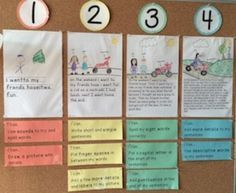 """Ontario """"Bump It Up"""" strategy. Print and post exemplars for levels 1, 2, 3, and 4 writing. Students use the wall to self-assess, peer-assess, give feedback and improve their work!Goes along with Bump It Up Labels resource (FREE)"""