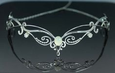 Celtic Bridal Tiara, Silver Tiara, Silver Headpiece, Celtic Wedding Headpiece, Medieval Crown, Diadem - Blue Fire Moonstone
