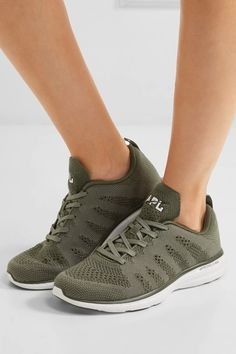 Athletic Propulsion Labs - Techloom Pro Cashmere-blend Mesh Sneakers - Army green - US