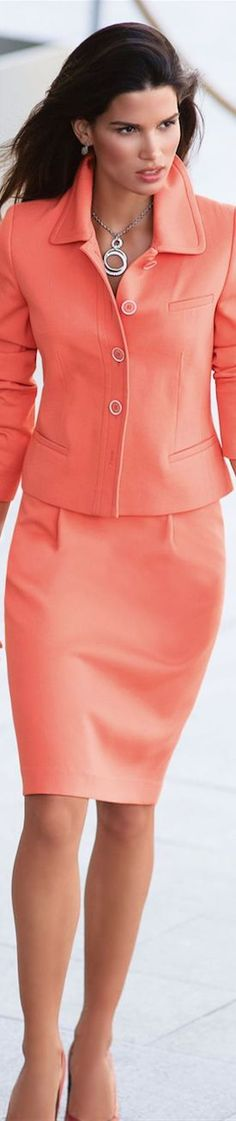 Coral Skirt Suit