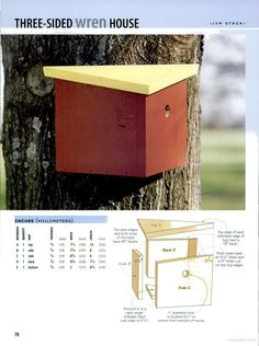 Birdhouses You Can Build in a Day - Three sided wren house