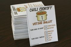 How to Host a Chili Cook Off Party (Invitations, Labeling Contestants, Voting Ballots and More)