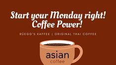 Starten Sie die Woche richtig an! Mit einem gutem Kaffee! www.rueggs.com #coffee #mondaymood #positivevibes #worklife #coffeetime #enjoywork #startyourweek #positivemotivation Thai Coffee, Arabica, Monday Coffee, The Originals, Tableware, Pictures, Dinnerware, Dishes