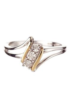 14K Yellow Gold & Sterling Silver Diamond Anniversary Ring: