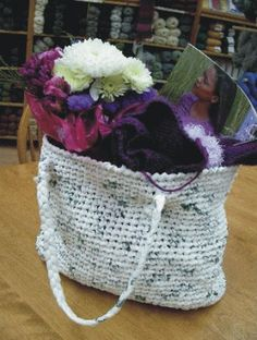 "Crocheted Tote made from Plastic Bags!  Love this ""Green"" idea!"