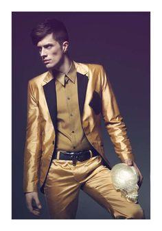 Lustrous Menswear Campaigns  The Jacek Klosinski Spring/Summer 2012 Collection is Eccen #goldfashion #menswear #suits
