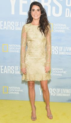 Ho-Hum from Fashion Police  This is about as dull as it gets. Nikki Reed attends the N.Y.C. premiere of National Geographic's Years of Living Dangerously in a Monqiue Lhuillier Sunday school dress that makes her look about 15 years old.