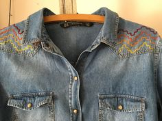 Hand embroidered Hippy Boho Country Western Denim pearl snap Classic Shirt Made…