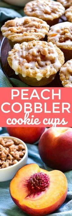 These Peach Cobbler Cookie Cups Fun Desserts, Dessert Recipes, Dessert Ideas, Fruit Ideas, Snack Recipes, Peach Cookies, Yummy Treats, Yummy Food, Sweet Treats