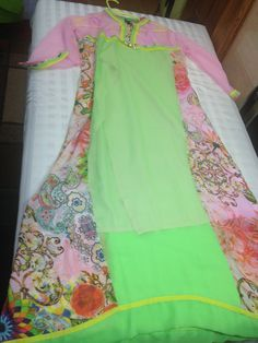 Light pink and green georgette kurti