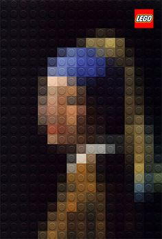 Italian artist Marco Sodano has created these pixilated art masterpieces of three classic paintings – Da Vinci's Mona Lisa and Lady with an Ermine as well as Johannes Vermeer's Girl with a Pearl – using LEGO bricks. Johannes Vermeer, Creative Advertising, Print Advertising, Advertising Campaign, Chef D Oeuvre, Oeuvre D'art, Mosaico Lego, Pixel Art, Kalender Design