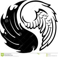 Abstract Yin Yang Wings Stock Illustration - Image: 45689122