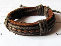 Cuff Bracelet Made With Brown Leather and Cotton Ropes by accessory365, $2.50