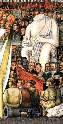 Frgamento del mural de Diego Rivera 'El Hombre en el Cruce de Caminos' (1934) que decora el tercer piso del Palacio de Bellas Artes de México.