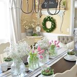 If I had super powers  could freeze our dining room to keep it this way forever I definitely would Its simple but I just love the white  pink combo happening here with the flowers  Ive had so much fun decorating for spring this year  this purdy little tablescape is probably my favorite post so far I shared it all on the blog today you can hit the direct link in my profile to check it out  dining room sources linked here httpliketkitqUGZ liketkit liketoknowit
