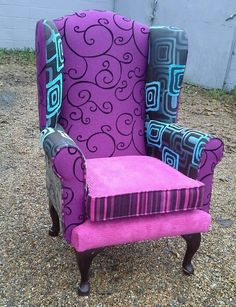 Wingback Armchair Re Upholstered In Lovely Fabric Chair Unique Patchwork in Home, Furniture & DIY, Furniture, Sofas, Armchairs & Suites | eBay