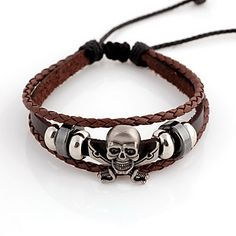 Ethnic Skull 14cm Unisex Coffee Leather With Silver Alloy Leather Bracelet(1 Pc) – USD $ 4.99