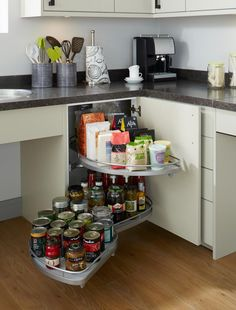 Full Extension Corner Storage Accessory love all these, shelf under wall stove etc