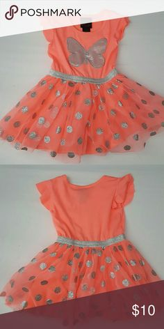 Girls Rule! butterfly dress Cute and sparkly dress with large sequin butterfly.  Silver elastic waistband with attached tulle skirt with silver glitter polka dots. Girls Rule! Dresses Casual