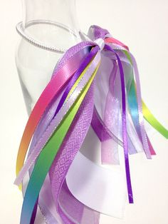 Flower Girl Hair Ribbon Ombre Purple Hair by FlyingCraneRibbons