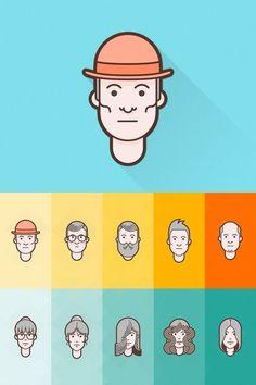 Free Download Flat Avatar Set For Designers 2015