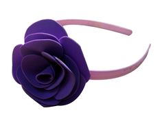 Purple color flower Hair-band (one flower), made of imported  rubber sheets, designed and crafted by village women, giving a   new fashion style to hair accessories.   Color: Purple   Material: Imported Rubber sheets   Base material: Imported plastic Hair-band