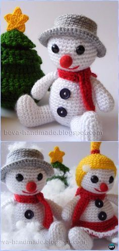 Crochet Bouli the Snowman Amigurumi Free Pattern – Amigurumi Crochet Snowman Stuffies Toys Free Patterns by tamara See other ideas and pictures from the category menu…. Faneks healthy and active life ideas Crochet Teddy, Crochet Patterns Amigurumi, Cute Crochet, Crochet Crafts, Crochet Dolls, Yarn Crafts, Crochet Projects, Crochet Snowman, Christmas Crochet Patterns