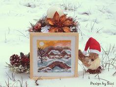 Four Seasons: Winter (Haft gobelinowy) Four Seasons, Wreaths, Pillows, Fall, Winter, Pictures, Design, Home Decor, Autumn