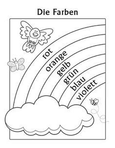 Die Farben German Colors Rainbow Coloring Page is designed for children in 1st Grade, 2nd Grade and 3rd Grade who are learning their basic German color names. This coloring page features super-cute whimsical critters (a bird, a butterfly and a bee) with a rainbow and a cloud.
