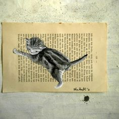 Original painting cat - Mr Greystripes - watercolor and tempera on page of antique book