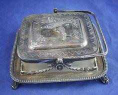 vtg antique SHEFFIELD SARDINE SERVER silver plate F SPILLER LONDON & BRIXTON