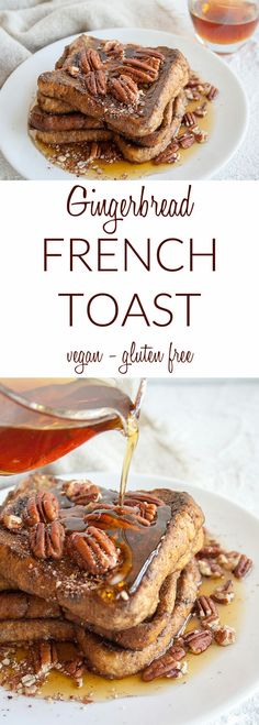Gingerbread French Toast (vegan, gluten free) - You're going to want to add this sweet French toast to your holiday menu! It's tradition worthy for sure. Vegan Breakfast Recipes, Best Breakfast, Snack Recipes, Dessert Recipes, Vegan Desserts, Vegan Food, Free Recipes, Vegan Recipes, Vegan French Toast