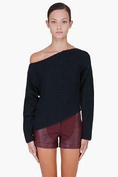 ALEXANDER WANG Black Asymmetrical Sweater