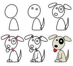 a dog cartoon dog drawing, Doodle Art, Doodle Drawings, Cartoon Drawings, Easy Drawings, Animal Drawings, Dog Drawings, Drawing Lessons, Drawing Techniques, Art Lessons